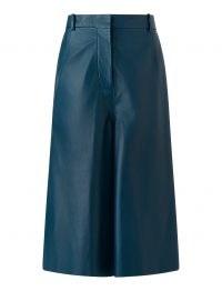 JOSEPH Nappa Leather Teresa Shorts Blue Steel