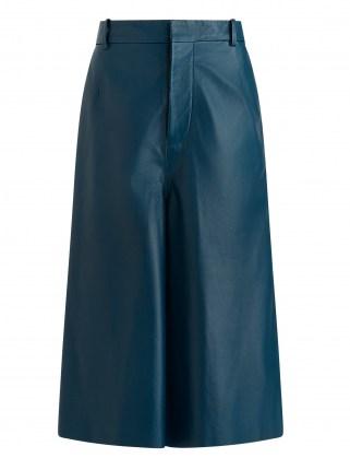 JOSEPH Nappa Leather Teresa Shorts Blue Steel - flipped
