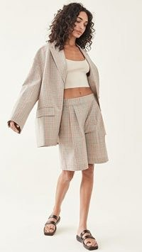 Tibi Nova Plaid Liam Blazer / oversized checked blazers / women's drop shoulder jackets