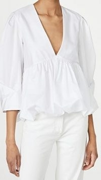 Tibi Sculpted Tucked Sleeve Top | white voluminous Deep V-front neckline blouse
