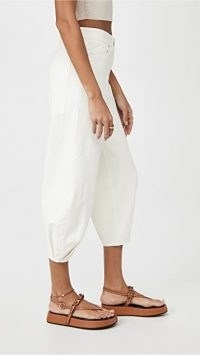 Tibi White Denim Sculpted Pants   cropped pleated hem summer trousers