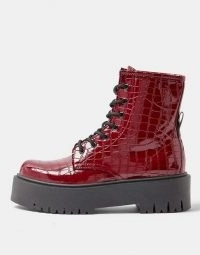Topshop chunky croc patent boots in burgundy