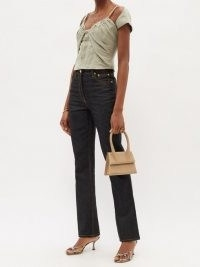 JACQUEMUS Tovallo ruched linen-blend bustier top / fitted cap sleeve tops