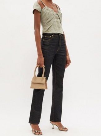 JACQUEMUS Tovallo ruched linen-blend bustier top / fitted cap sleeve tops - flipped