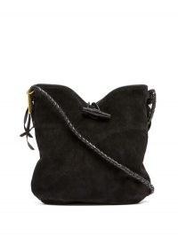 ISABEL MARANT Tyag braided-strap suede shoulder bag | black slouchy western style bags