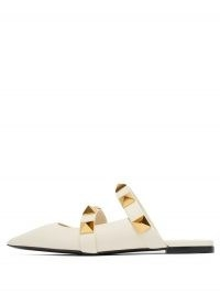VALENTINO GARAVANI Upstud point-toe leather mules ~ luxe flat heel studded mule ~ stud embellished point toe flats