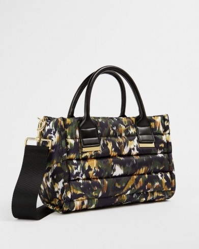 TED BAKER AMIINAA Urban Puffer Nylon Small Box Tote / top handle shoulder bags / camo style prints - flipped