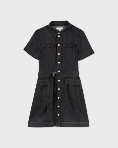 Ted Baker POLINNA Utility Denim Mini Dress   short sleeve belted shirt dresses   utility fashion - flipped