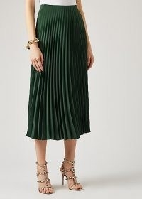 VALENTINO Forest green pleated cady midi skirt ~ designer skirts