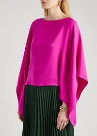 VALENTINO Fuchsia cape-effect silk blouse ~ bright pink wide sleeve blouses ~ vibrant coloured top