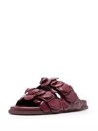 Valentino Garavani Rose Edition mule sandals in dark burgundy ~ floral leather flats