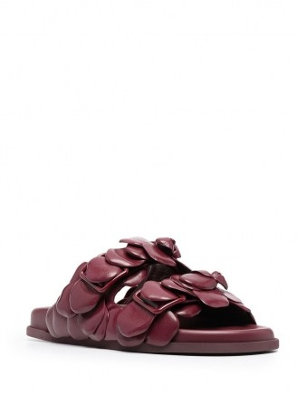 Valentino Garavani Rose Edition mule sandals in dark burgundy ~ floral leather flats - flipped