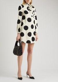 VALENTINO Polka-dot silk mini dress   retro dresses   monochrome   vintage style fashion