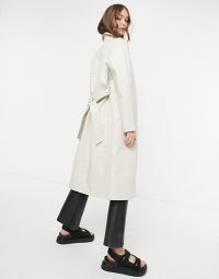 Vero Moda croc leather look trench in cream ~ self tie coats
