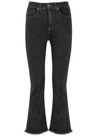 VERONICA BEARD Carly black kick-flare jeans   crop leg flares