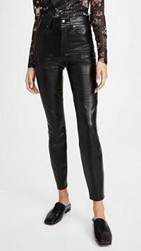 Veronica Beard Jean Debbie Long Pants – black faux leather skinny trousers