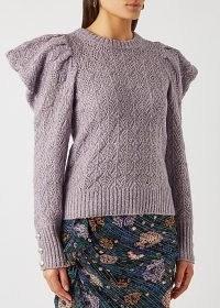 VERONICA BEARD Novah lilac pointelle-knit jumper ~ light purple puff sleeve jumpers
