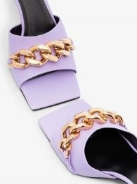 Versace Lilac 55 Chain Leather Mules ~ square toe mule sandals