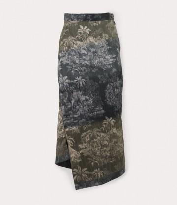 Vivienne Westwood MIDI INFINITY SKIRT MULTICOLOUR ~ island print asymmetric hem skirts