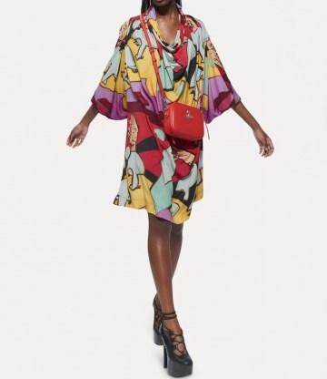 Vivienne Westwood GARRET DRESS ONE FUN SEPTEMBER ~ multicoloured bold print loose fit dresses - flipped
