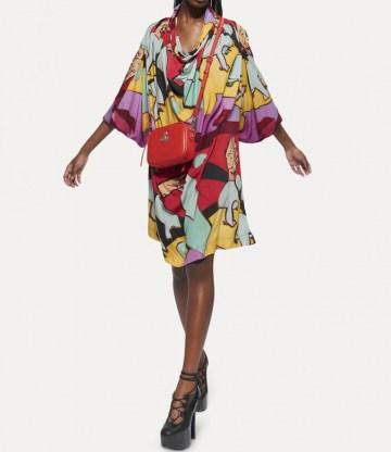 Vivienne Westwood GARRET DRESS ONE FUN SEPTEMBER ~ multicoloured bold print loose fit dresses