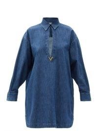 VALENTINO V-logo keyhole-cutout denim shirt dress ~ casual chic dresses
