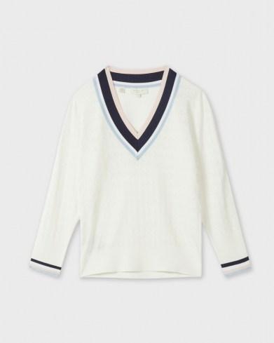 Ted Baker ALMAHH V-Neck Stripe detailed sweater - flipped