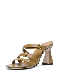 Wandler Lara crossover-strap sandals ~ leather flared heel sandal