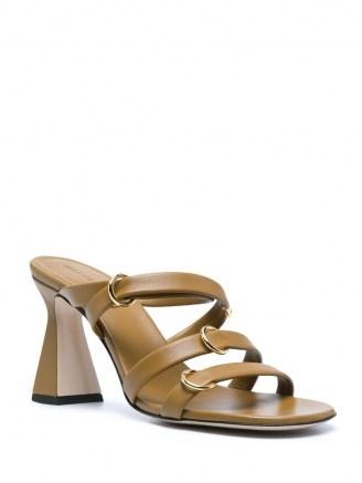 Wandler Lara crossover-strap sandals ~ leather flared heel sandal - flipped