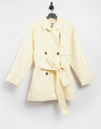 Weekday Janis short trench coat in cream patent ~ double breasted coats