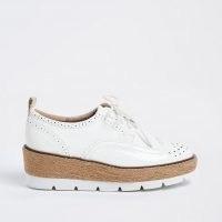 RIVER ISLAND White brogue wedge platform shoes / flatform brogues