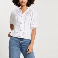 River Island White crochet diamante button cardigan | puff sleeve cardigans