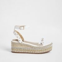 River Island White embellished espadrille flatform sandals | stud and crystal flatforms | ankle strap wedges