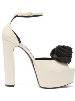 SAINT LAURENT Jodie rose-embellished leather platform sandals ~ white retro platforms - flipped