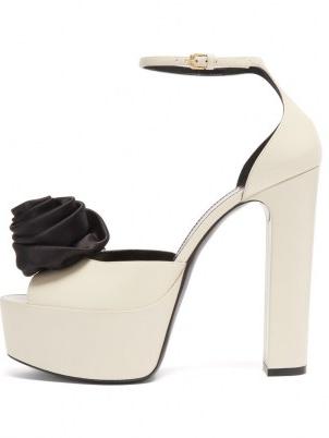 SAINT LAURENT Jodie rose-embellished leather platform sandals ~ white retro platforms