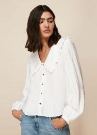 WHISTLES OVERSIZED COLLAR DETAIL TOP in White / feminine large collared blouse