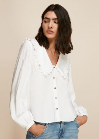 WHISTLES OVERSIZED COLLAR DETAIL TOP in White / feminine large collared blouse - flipped