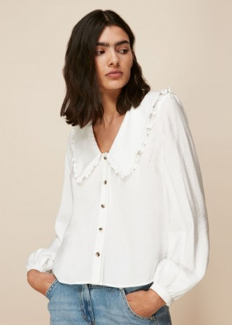 WHISTLES OVERSIZED COLLAR DETAIL TOP in White / feminine large collared blouse