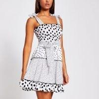River Island White polka dot shirred mini beach dress   retro sundress   vintage style summer dresses