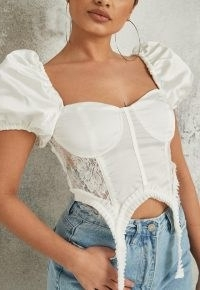Missguided white satin lace suspender detail crop top | follow the lingerie style fashion trend | fitted bust tops