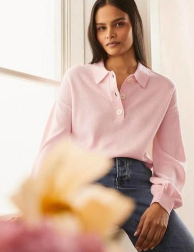 Boden Winchilsea Collared Jumper Milkshake / light pink open neck knitted polo tops
