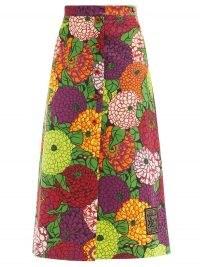 GUCCI X Ken Scott floral-print cotton-blend skirt ~ bold vintage prints ~ multicoloured skirts