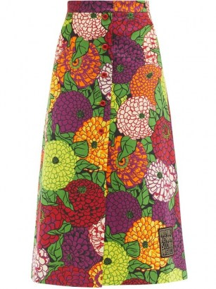 Bold floral print skirt