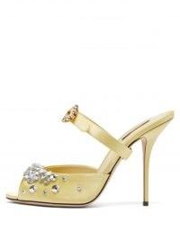 DOLCE & GABBANA Crystal-embellished satin sandals ~ bejewelled mules ~ luxe Italian footwear ~ luxury yellow sandal