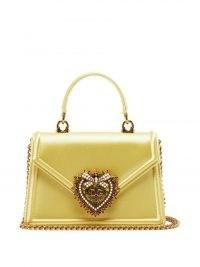 DOLCE & GABBANA Devotion small satin handbag ~ luxe yellow top handle bags ~ beautiful Italian handbags
