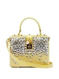 DOLCE & GABBANA Dolce Box crystal-embellished yellow satin box bag ~ luxe Italian bags ~ beautiful handbags