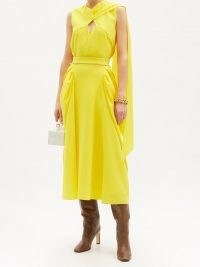 ROKSANDA Sazan gathered-panel crepe midi skirt ~ yellow occasion skirts