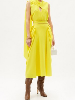 ROKSANDA Sazan gathered-panel crepe midi skirt ~ yellow occasion skirts - flipped