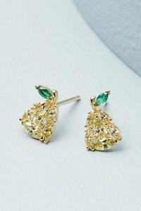 Anthropologie Pear Cubic Zirconia Stud Earrings