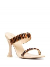 Cult Gaia tortoise embellishments mules ~ double strap high heel mule sandal